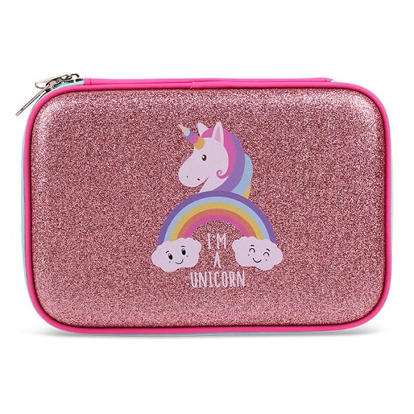 Glitter Pencil Case with Compartments