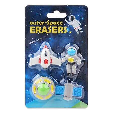 Awesome Outer-Space Erasers - Set of 4