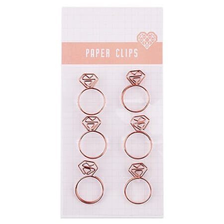 Rose Gold Paper Clips - 6 Pack
