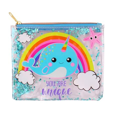 Narwhal Glitter Clear Pencil Case